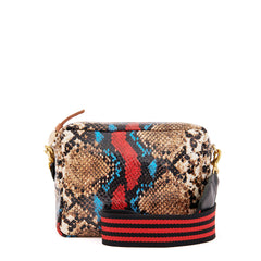 Garden Snake Midi Sac with Black and Red Mini Stripe Webbing Crossbody Strap