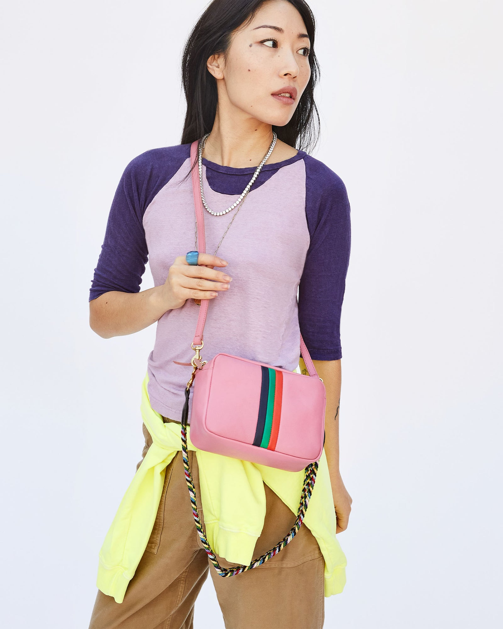 Petal w/ Stripes Midi Sac with Multi Braided Shoulder Strap on Ami