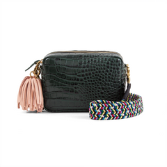 Blush Pom Pom Tassel with Loden Croco Midi Sac