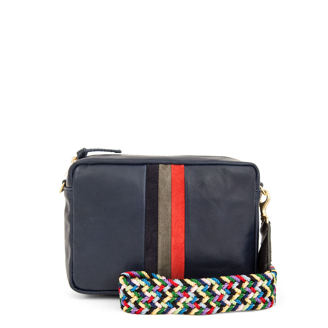 Navy Rustic with Desert Stripes Midi Sac with Multi Webbing Strap