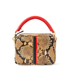 Tan Spring Snake with Evergreen, Navy and Red Mini Stripes Midi Sac with Cherry Red Tubular Top Handle
