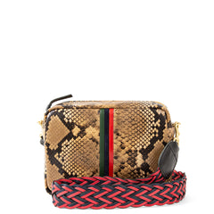 Tan Spring Snake with Evergreen, Navy and Red Mini Stripes Midi Sac with Red and Navy Braided Crossbody Strap