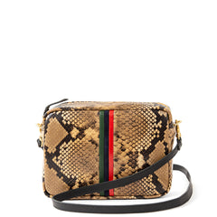 Tan Spring Snake with Evergreen, Navy and Red Mini Stripes Midi Sac - Front
