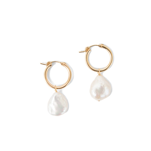 Minoux Coin Pearl Hoops
