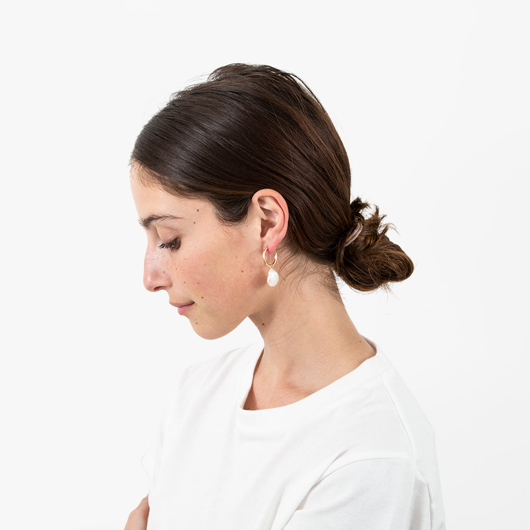 Minoux Coin Pearl Hoops - On-Model