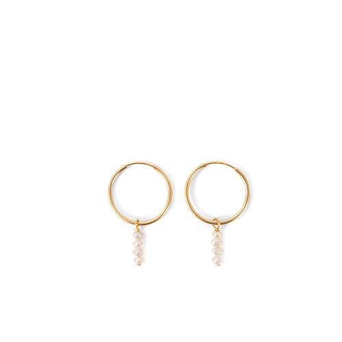 Minoux Mini Pearl Stack Hoop Earrings