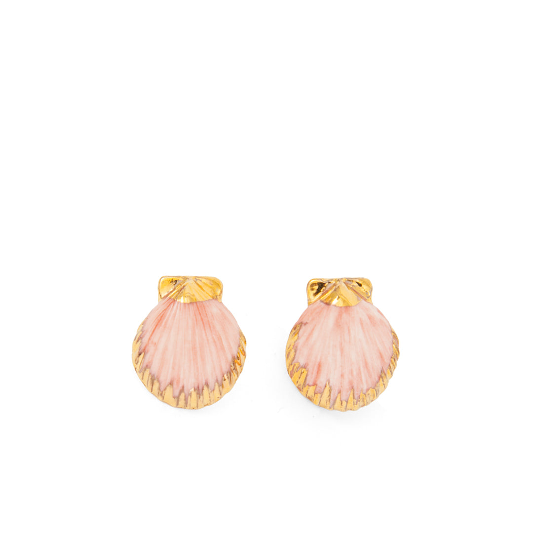 PInk and Gold Shell Nach Bijoux Earrings