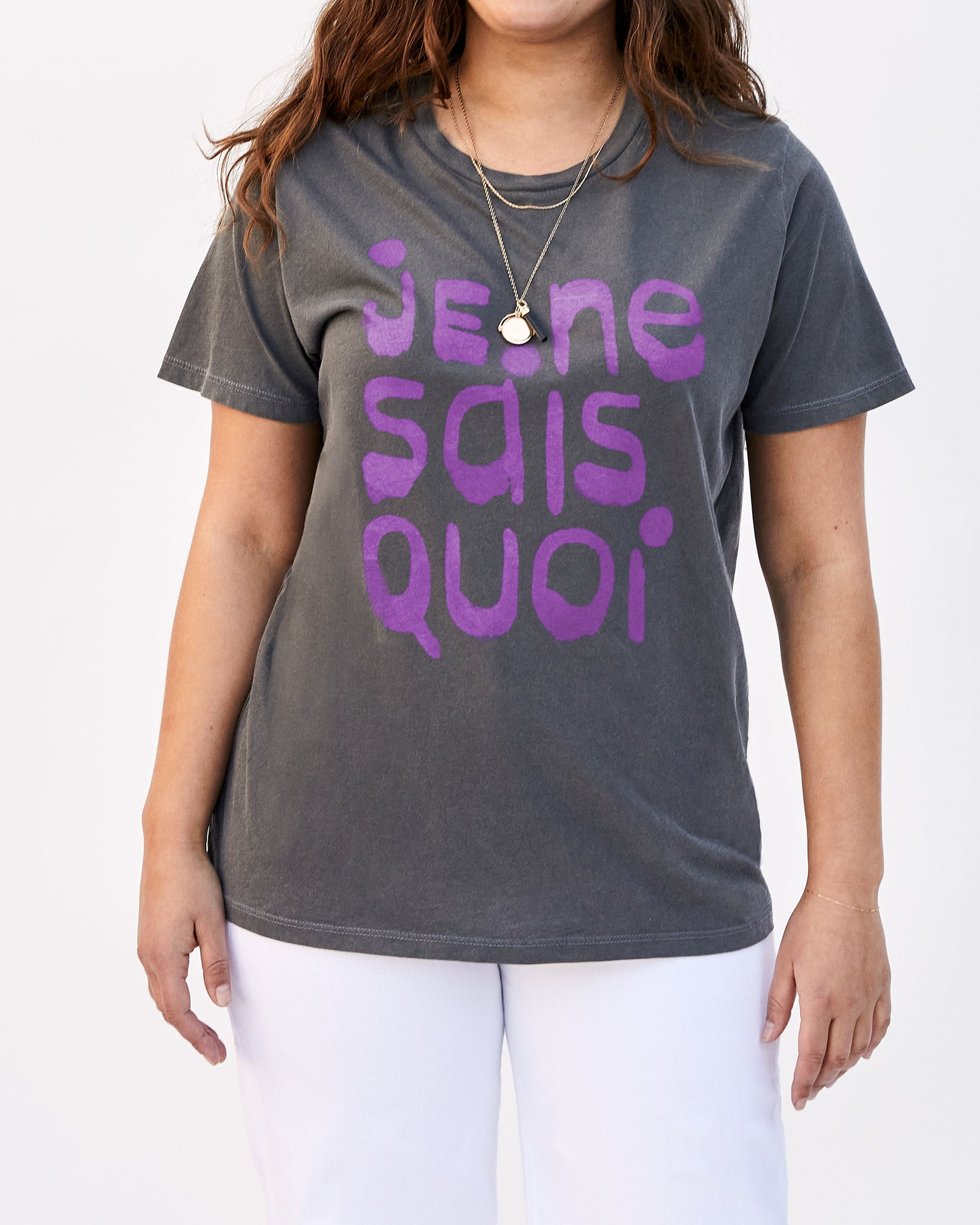 Faded Black with Iris Je Ne Sais Quoi Original Fit Tee on Abbi