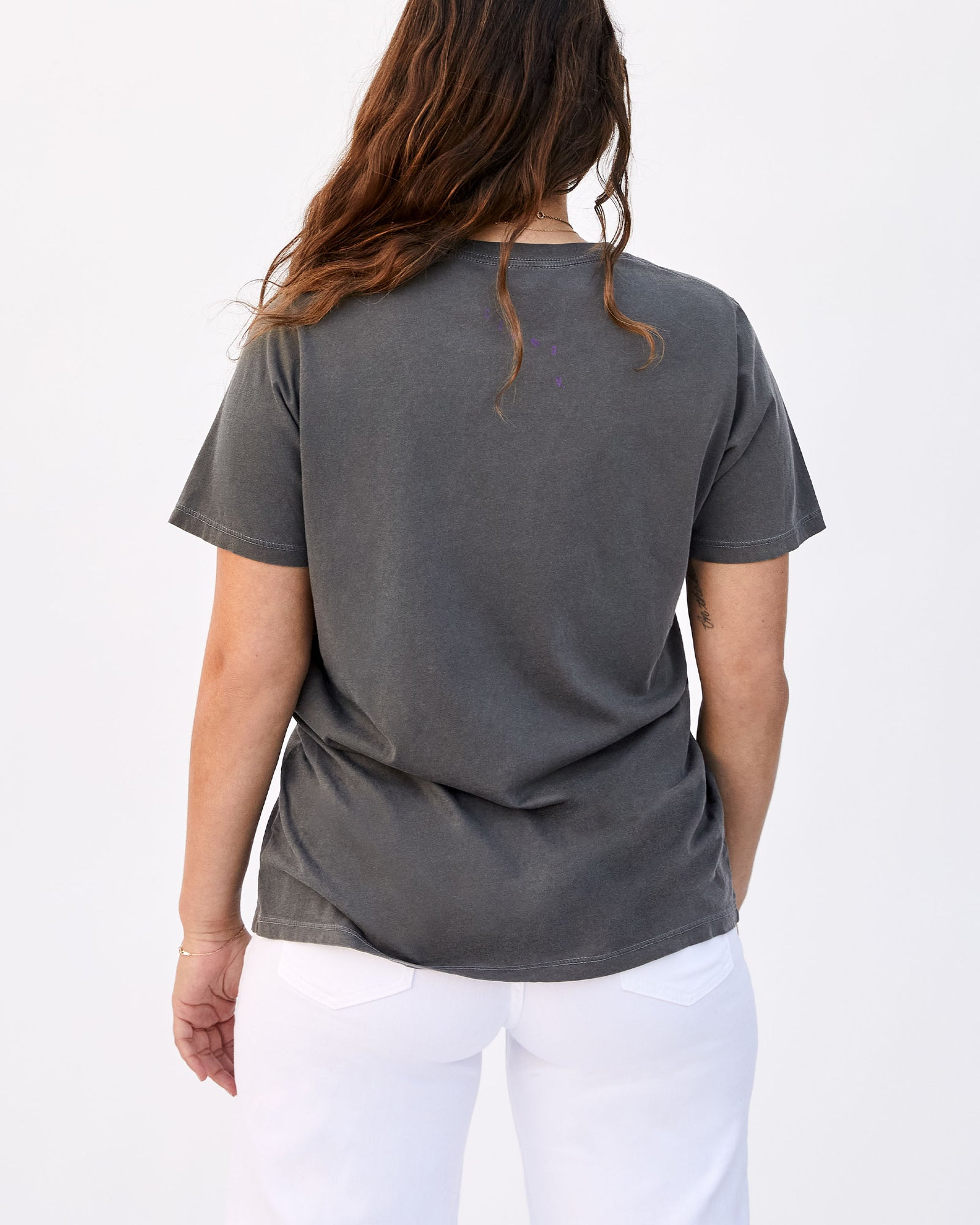 Faded Black with Iris Je Ne Sais Quoi Original Fit Tee on Abbi - Back