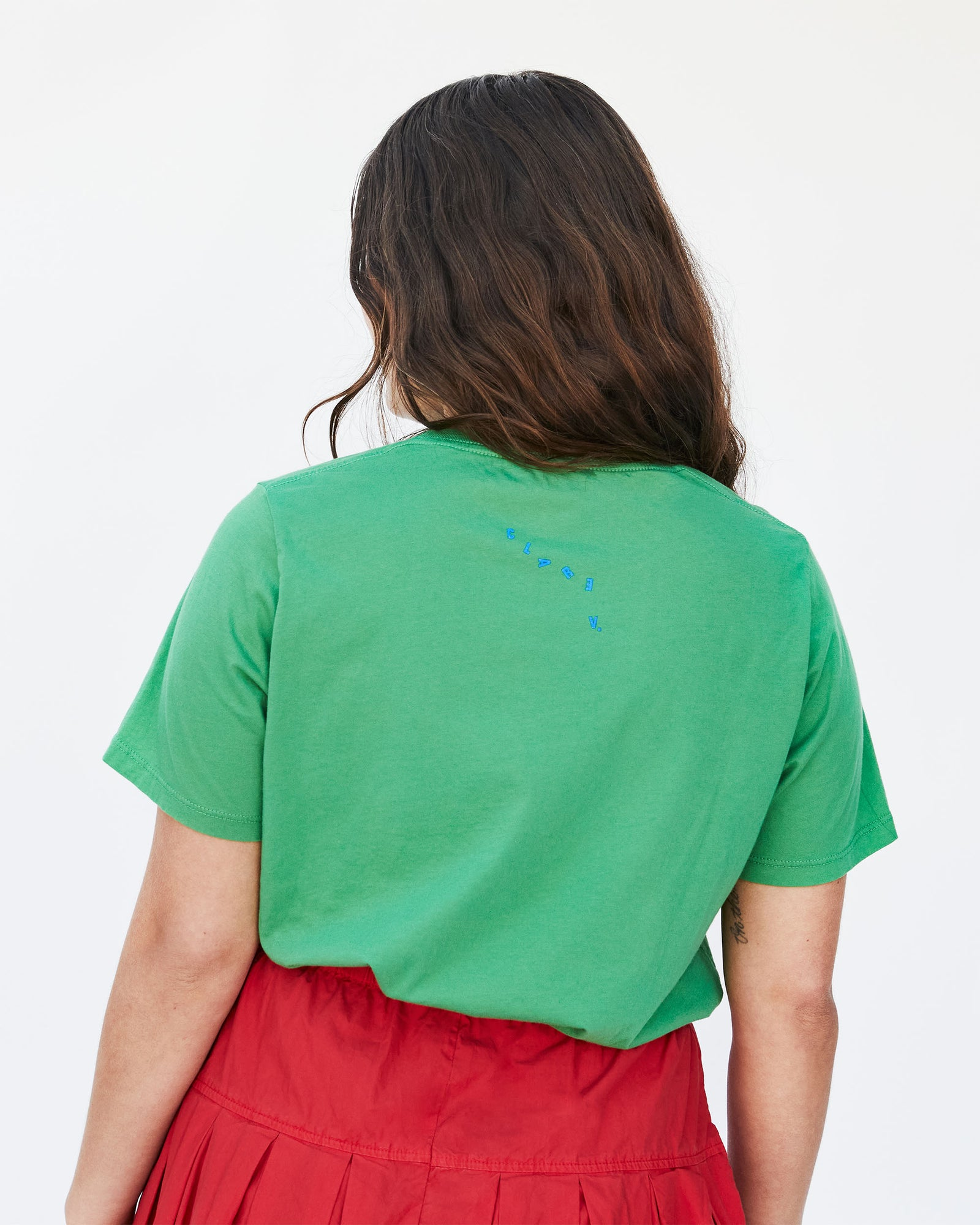 Abbi wearing our Green with Blue Oui Original Fit Tee - Back