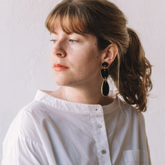 Pedrusco Black Lagrimas Earrings On-Model