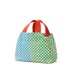 Cream w/Parrot Green & Sky Blue Woven Striped Checker Petit Bateau Tote - Back