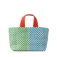Cream w/Parrot Green & Sky Blue Woven Striped Checker Petit Bateau Tote - Front