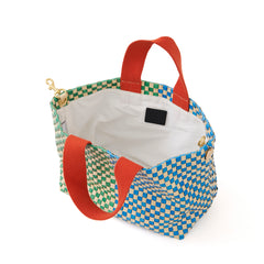 Cream w/Parrot Green & Sky Blue Woven Striped Checker Petit Bateau Tote - Interior
