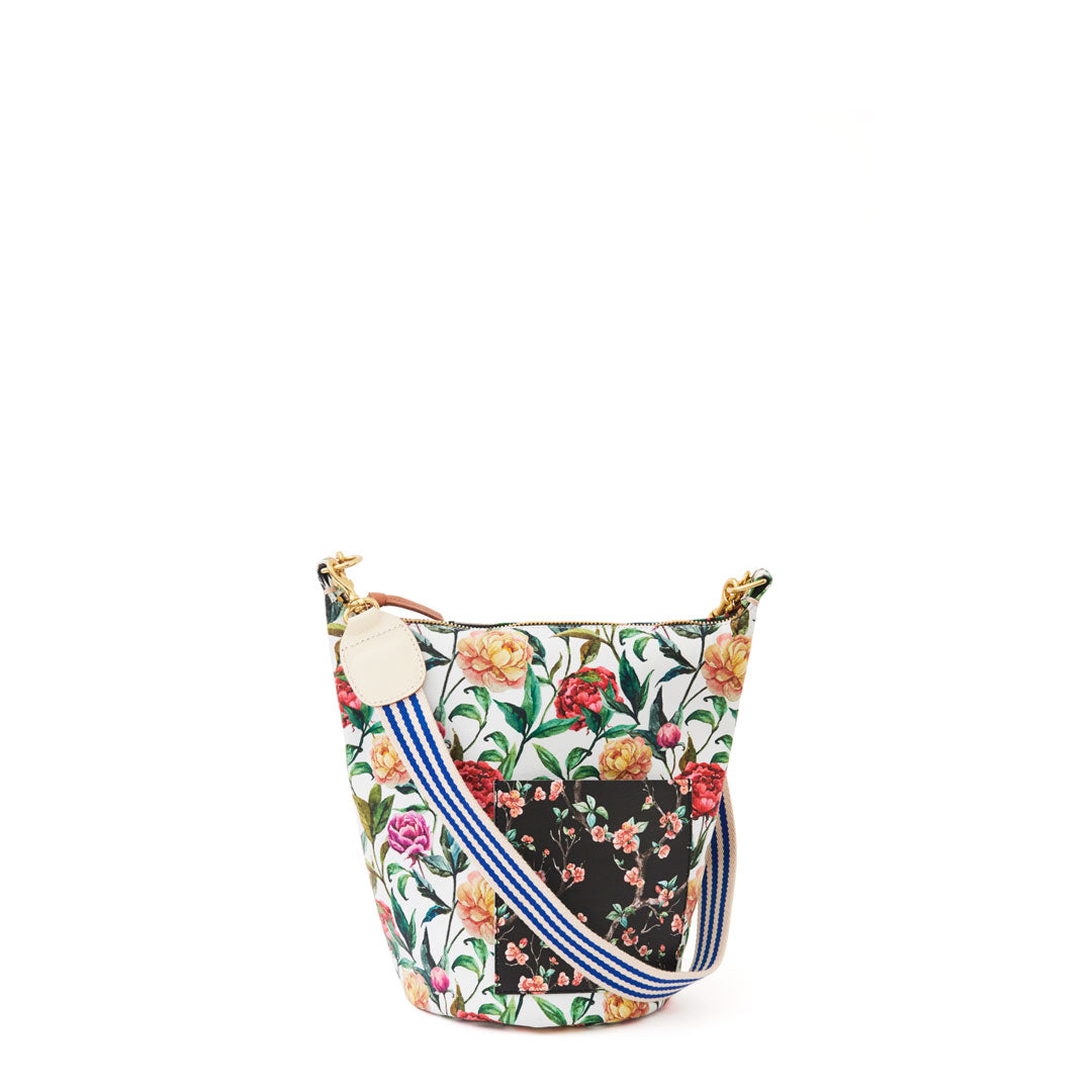 Patchwork Floral Petite Jeanne with Mini Stripe Shoulder Strap