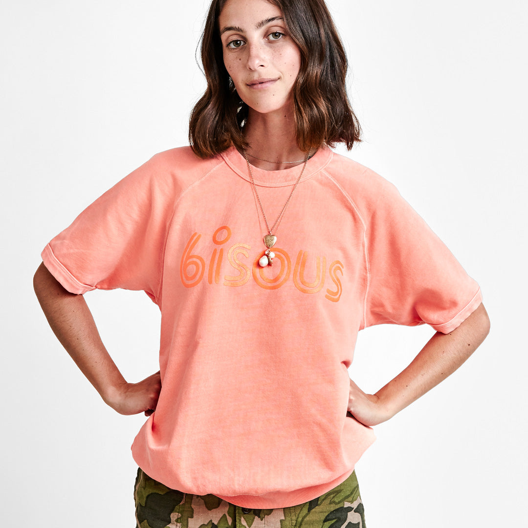 Neon Salmon with Neon Orange Bisous Short Sleeve Sweatshirt