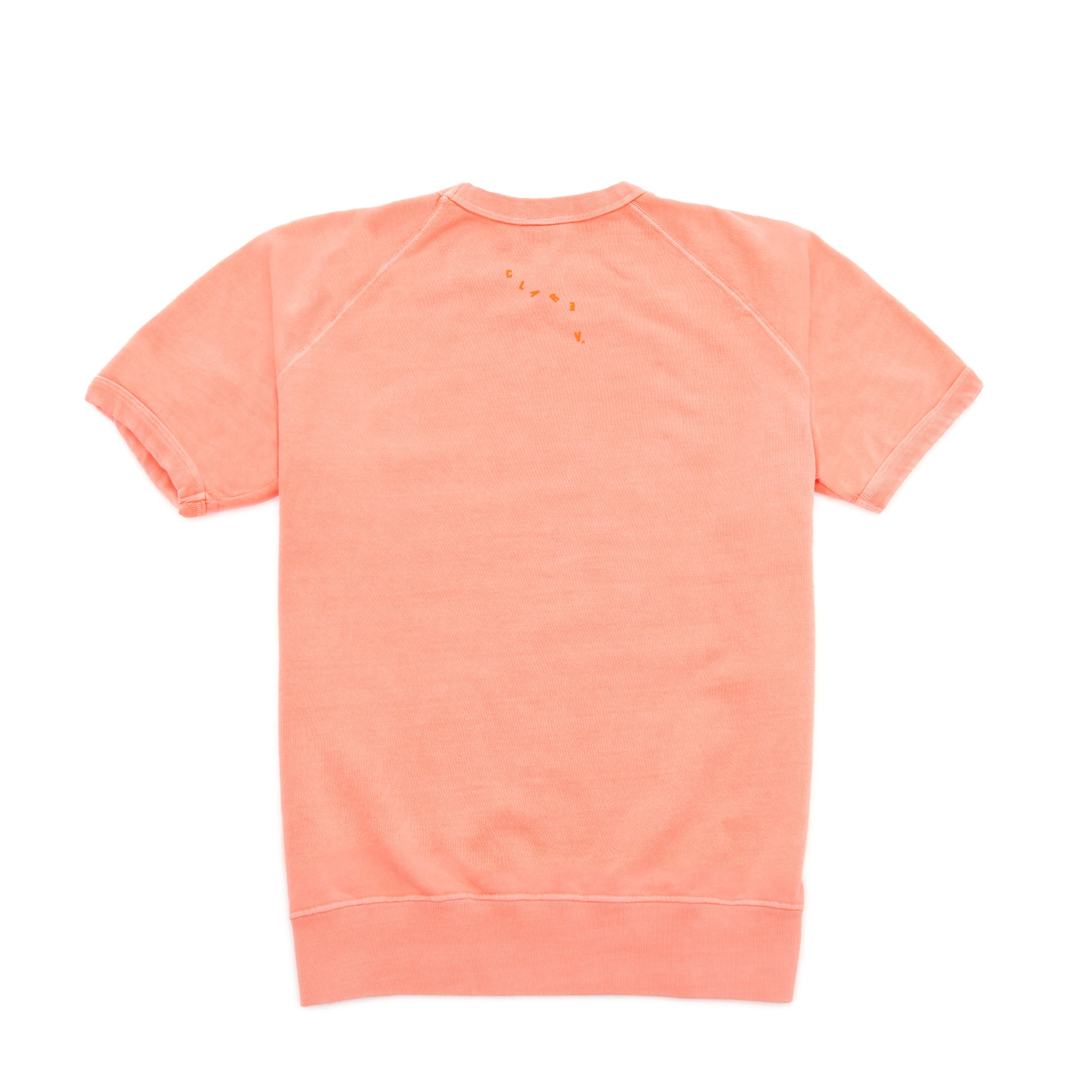 Neon Salmon with Neon Orange Bisous Short Sleeve Sweatshirt - Back