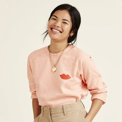 Salmon with Poppy Lips Sweatshirt - On Model