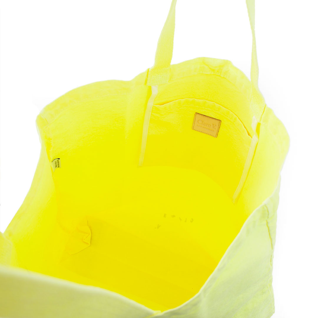 Neon Yellow Saturday Tote - Interior