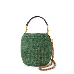 Green Pot de Miel with Thick Gold Chain Shoulder Strap