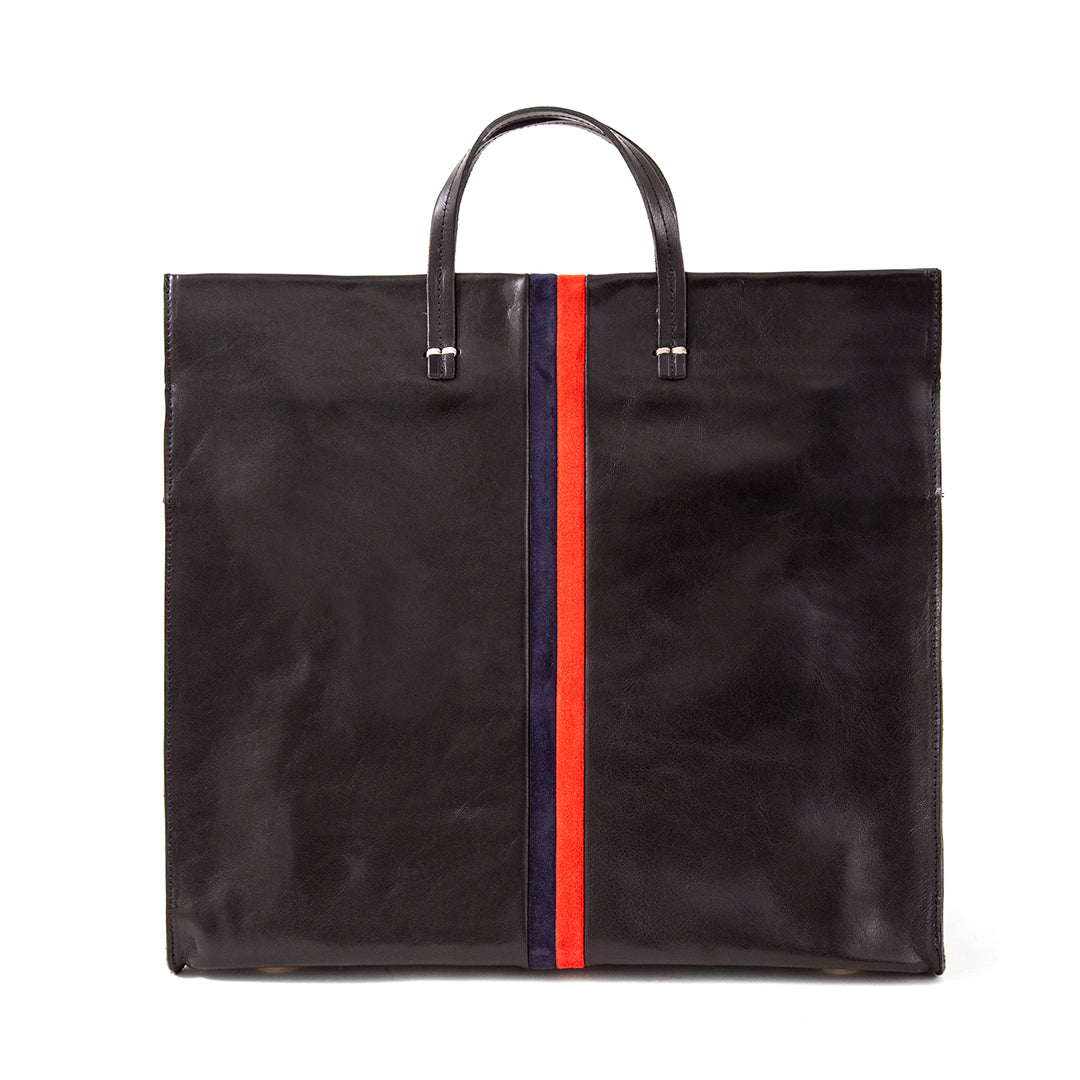 Black with Navy & Red Suede Stripes Simple Tote - Front