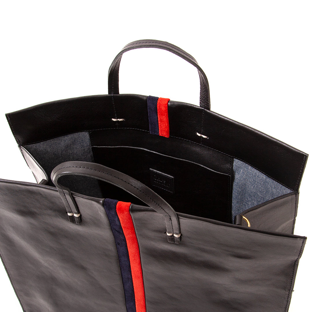 Black with Navy & Red Suede Stripes Simple Tote - Interior
