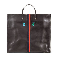 Black Rustic with Navy and Red Suede Desert Stripes Simple Tote with Hand-Painted Monogram