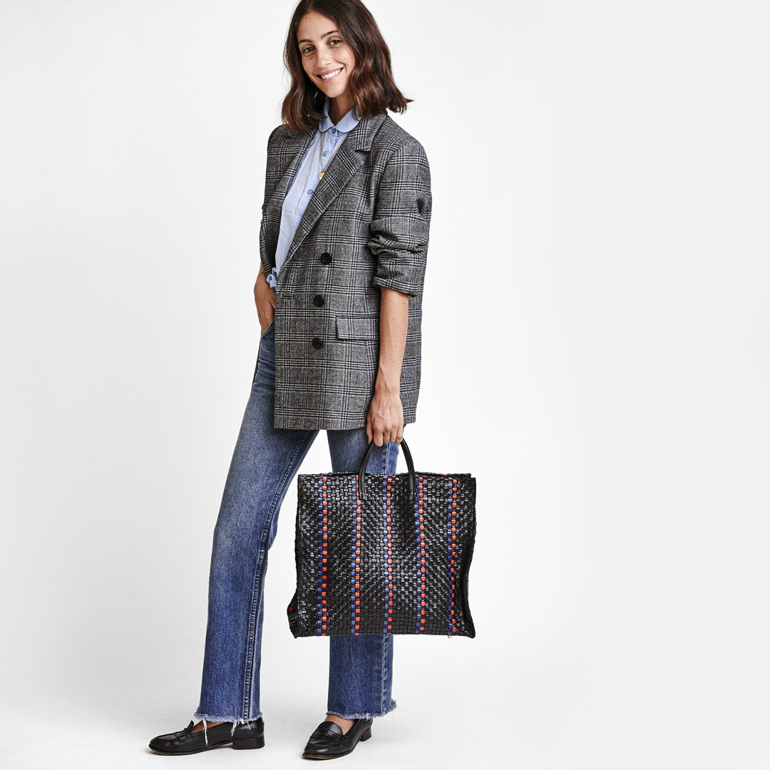 Black with Pacific and Cherry Red Woven Striped Checker Simple Tote