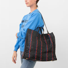 Black with Pacific and Cherry Red Woven Striped Checker Simple Tote - Interior