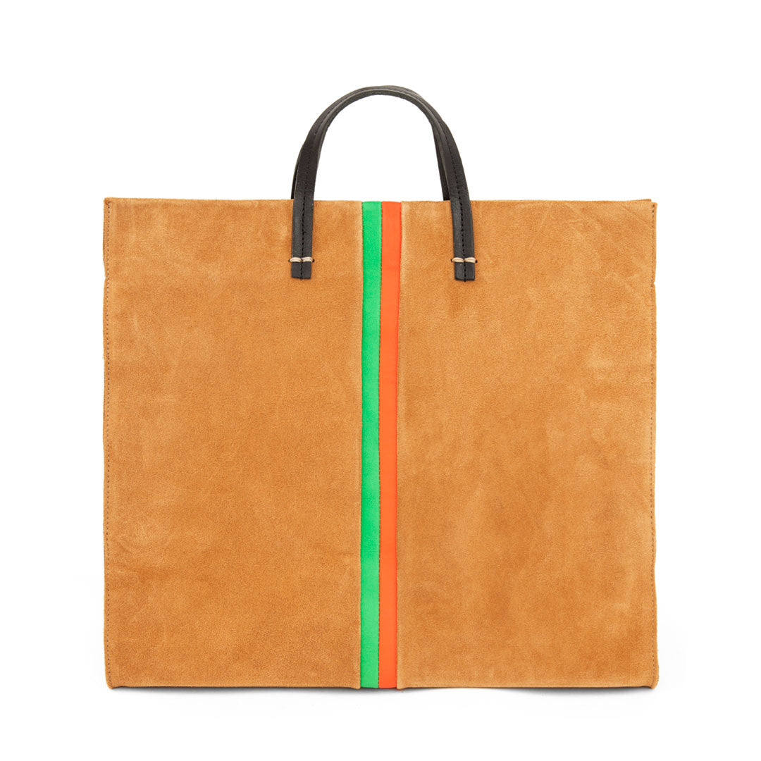 Camel Suede with Parrot Green and Blood Orange Stripes Simple Tote