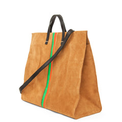 Camel Suede with Parrot Green and Blood Orange Stripes Simple Tote - Back
