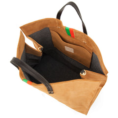 Camel Suede with Parrot Green and Blood Orange Stripes Simple Tote - Interior