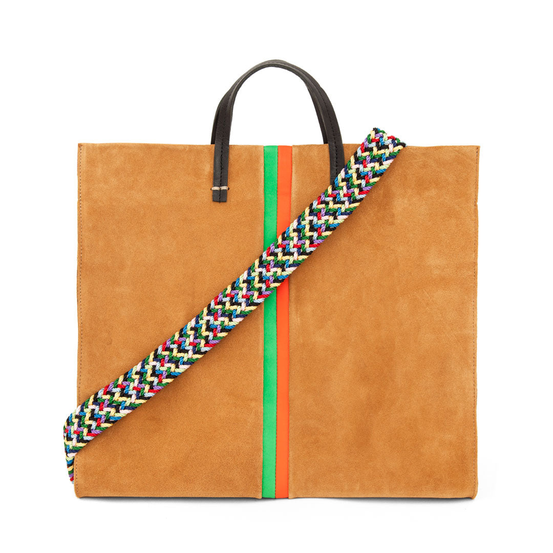 Camel Suede with Parrot Green and Blood Orange Stripes Simple Tote with Multi Webbing Shoulder Strap