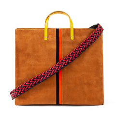 Camel Suede with Navy & Red Suede Stripes with Red and Navy Braided Shoulder Strap (sold separately)