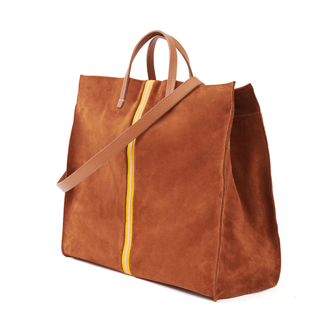 Chestnut Suede with Canary & Pale Pink Mini Stripes Simple Tote - Back