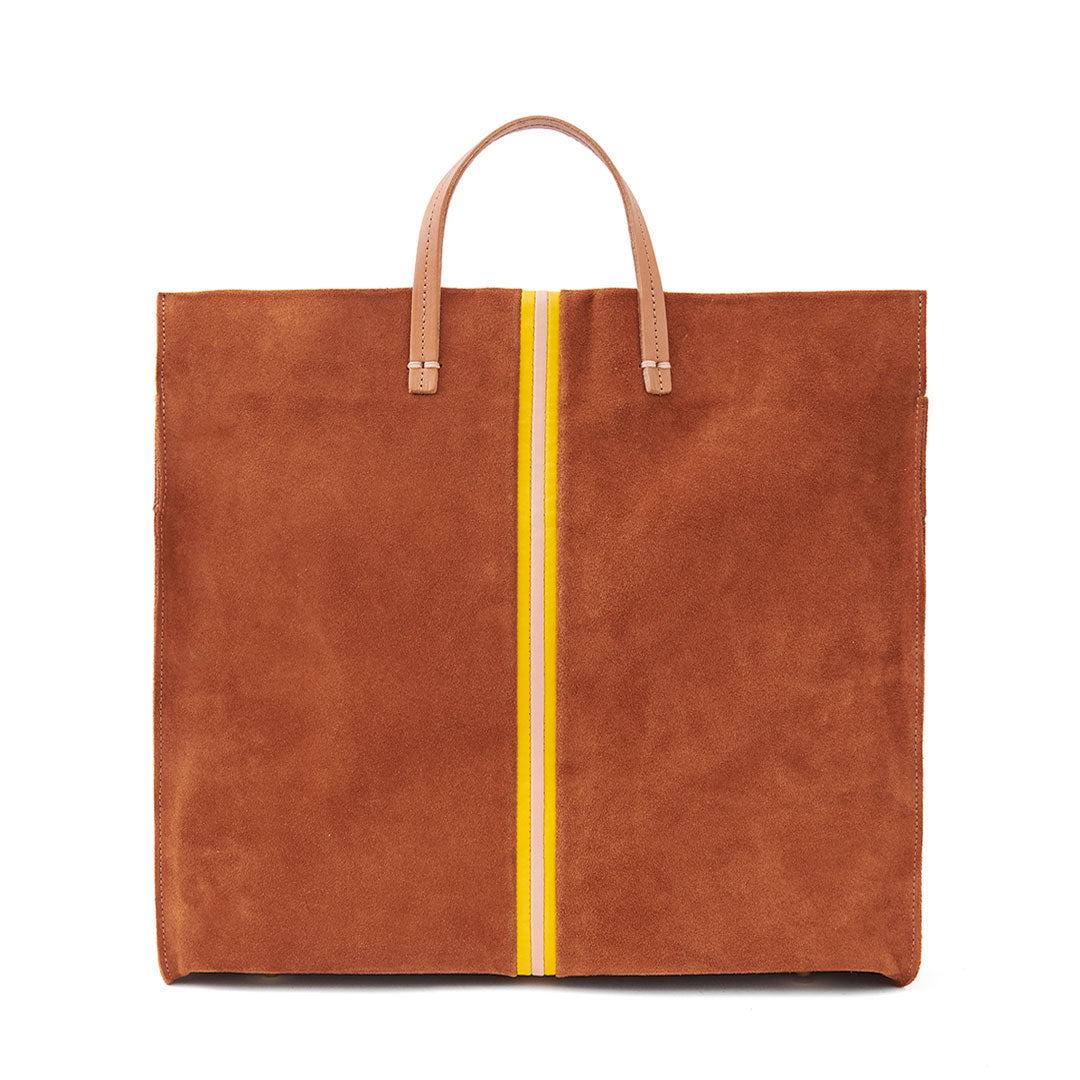 Chestnut Suede with Canary & Pale Pink Mini Stripes Simple Tote