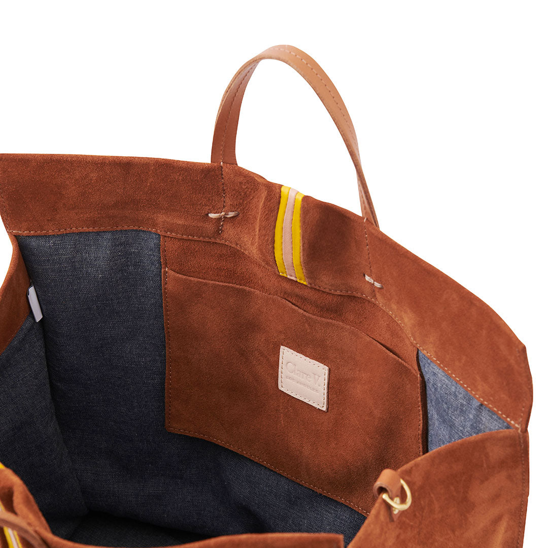 Chestnut Suede with Canary & Pale Pink Mini Stripes Simple Tote - Interior