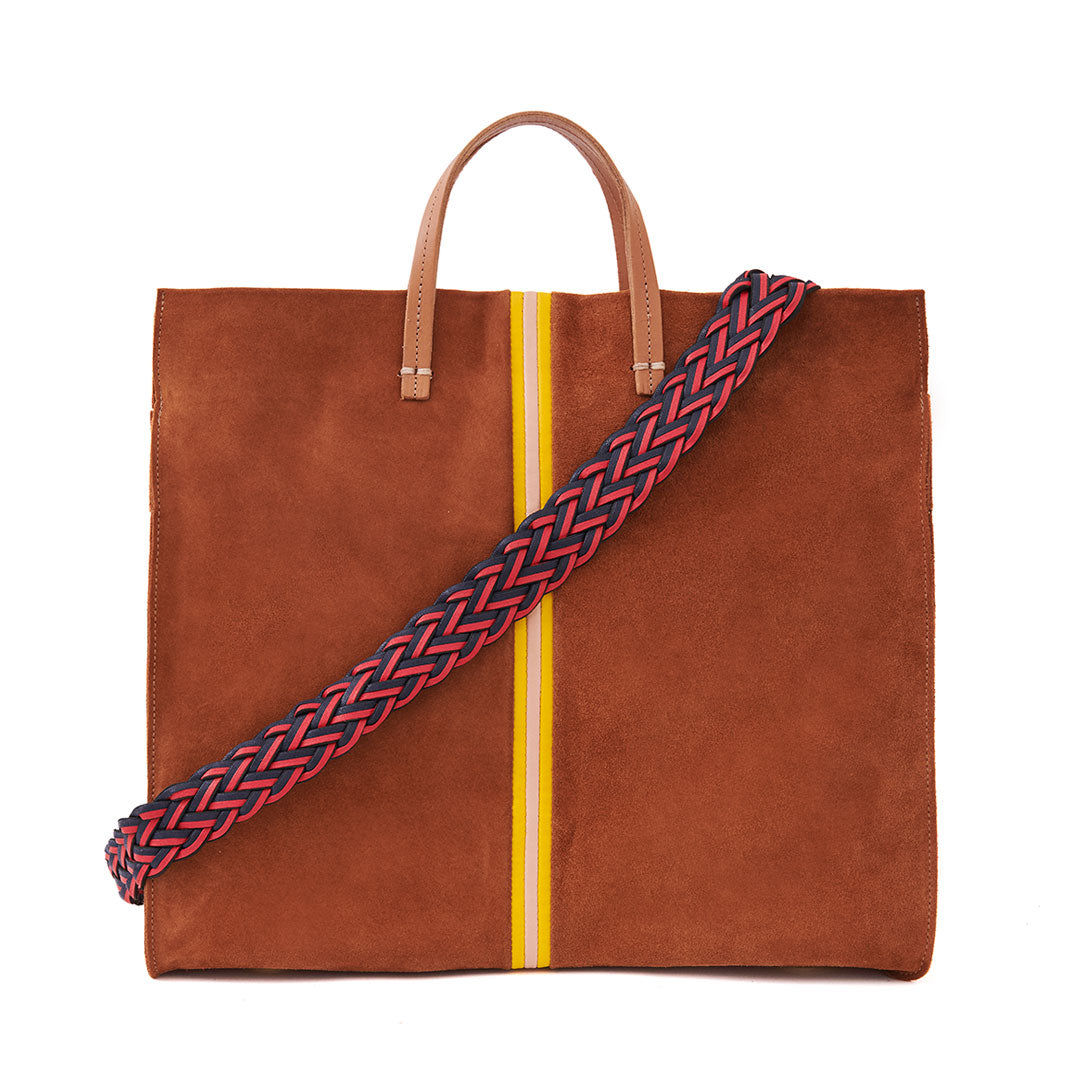 Chestnut Suede with Canary & Pale Pink Mini Stripes Simple Tote with Red and Navy Braided Shoulder Strap