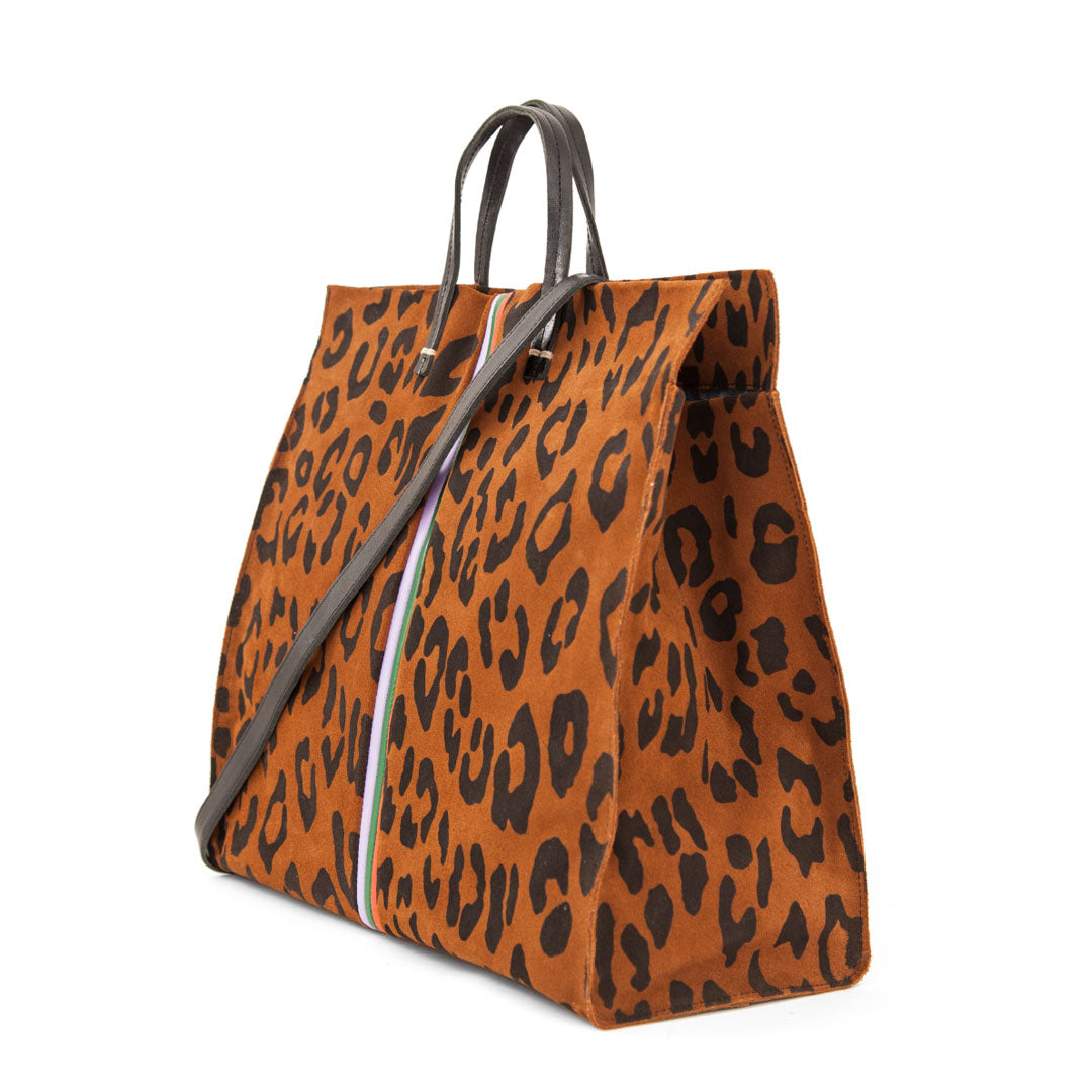 Cognac Pablo Cat Suede with Mini Stripes Simple Tote - Back