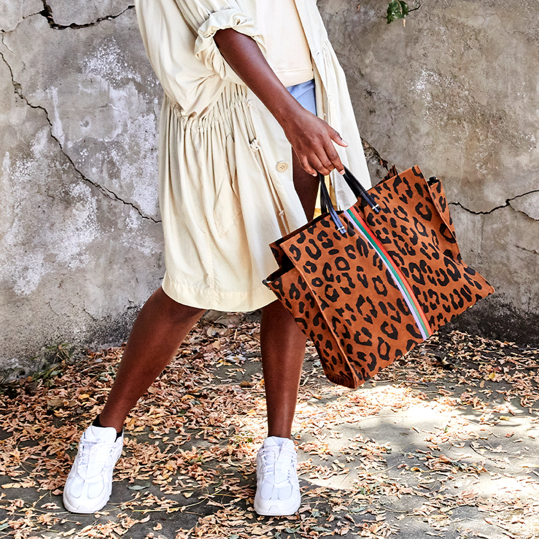 Cognac Pablo Cat Suede with Mini Stripes Simple Tote on Kaelani