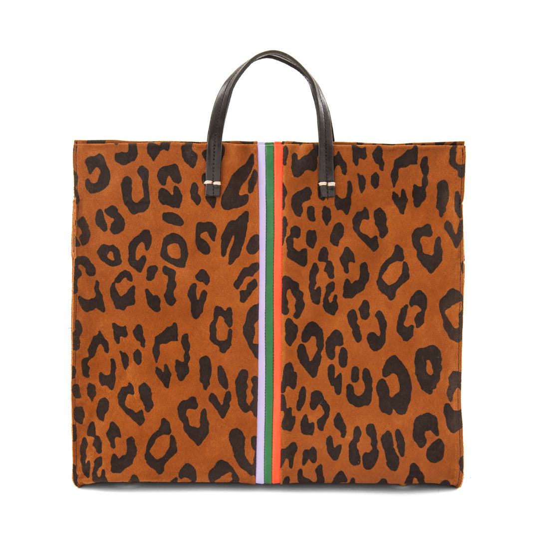 Cognac Pablo Cat Suede with Mini Stripes Simple Tote - Front