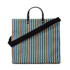 Garden Stripe Simple Tote with Black Cotton Webbing Shoulder Strap