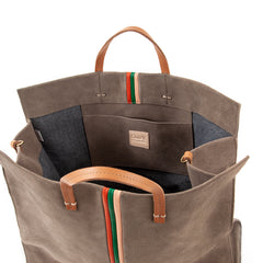 Grey with Stripes Simple Tote - Interior