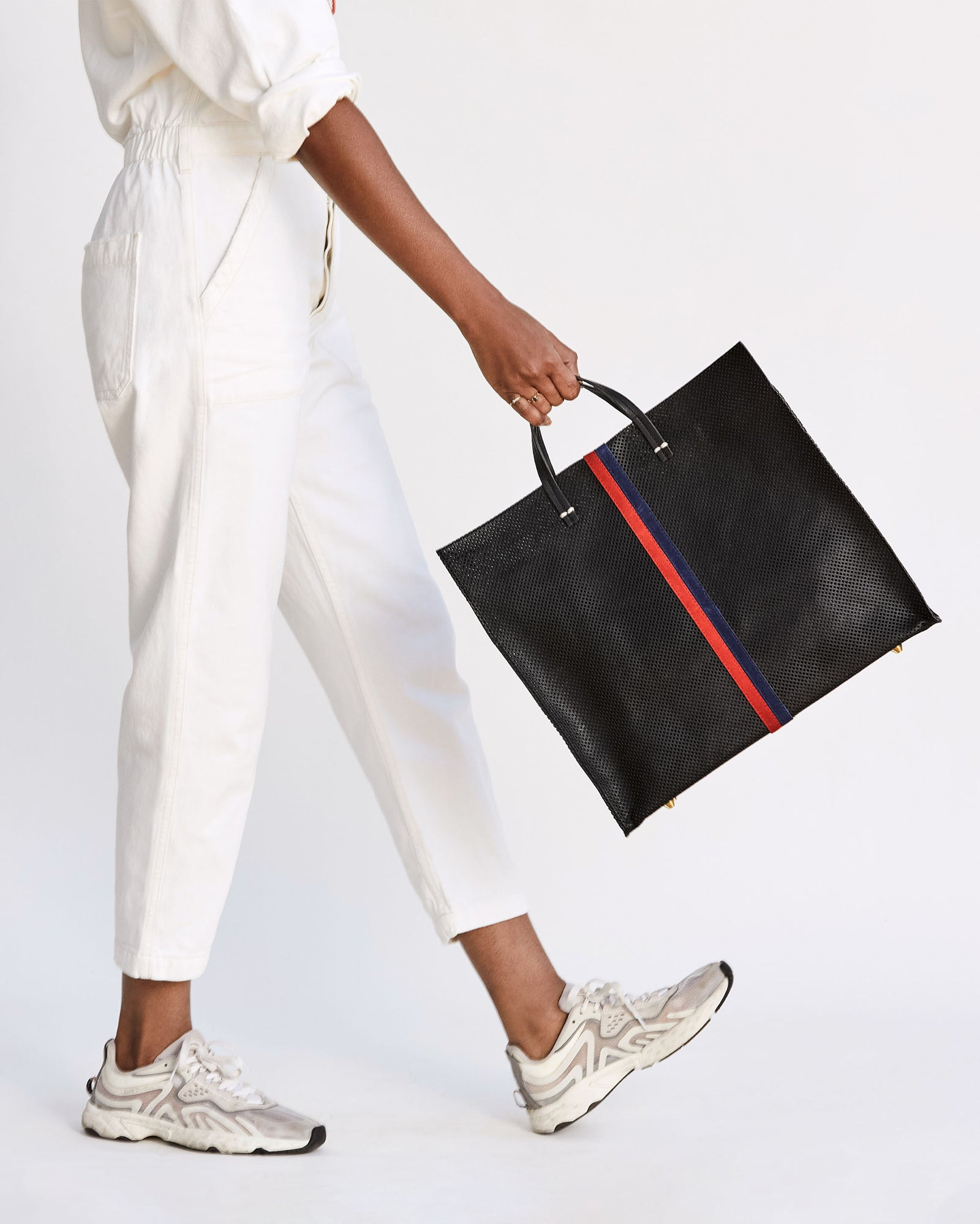 Black Perf with Navy & Red Desert Stripes Simple Tote on Mecca
