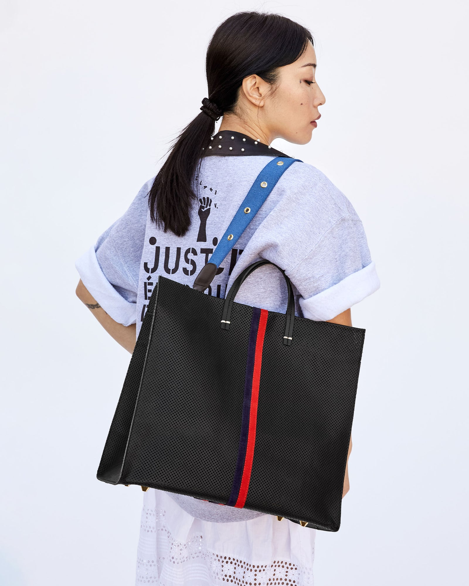 Black Perf with Navy & Red Desert Stripes Simple Tote with Blue w/ Grommets Shoulder Strap on Ami