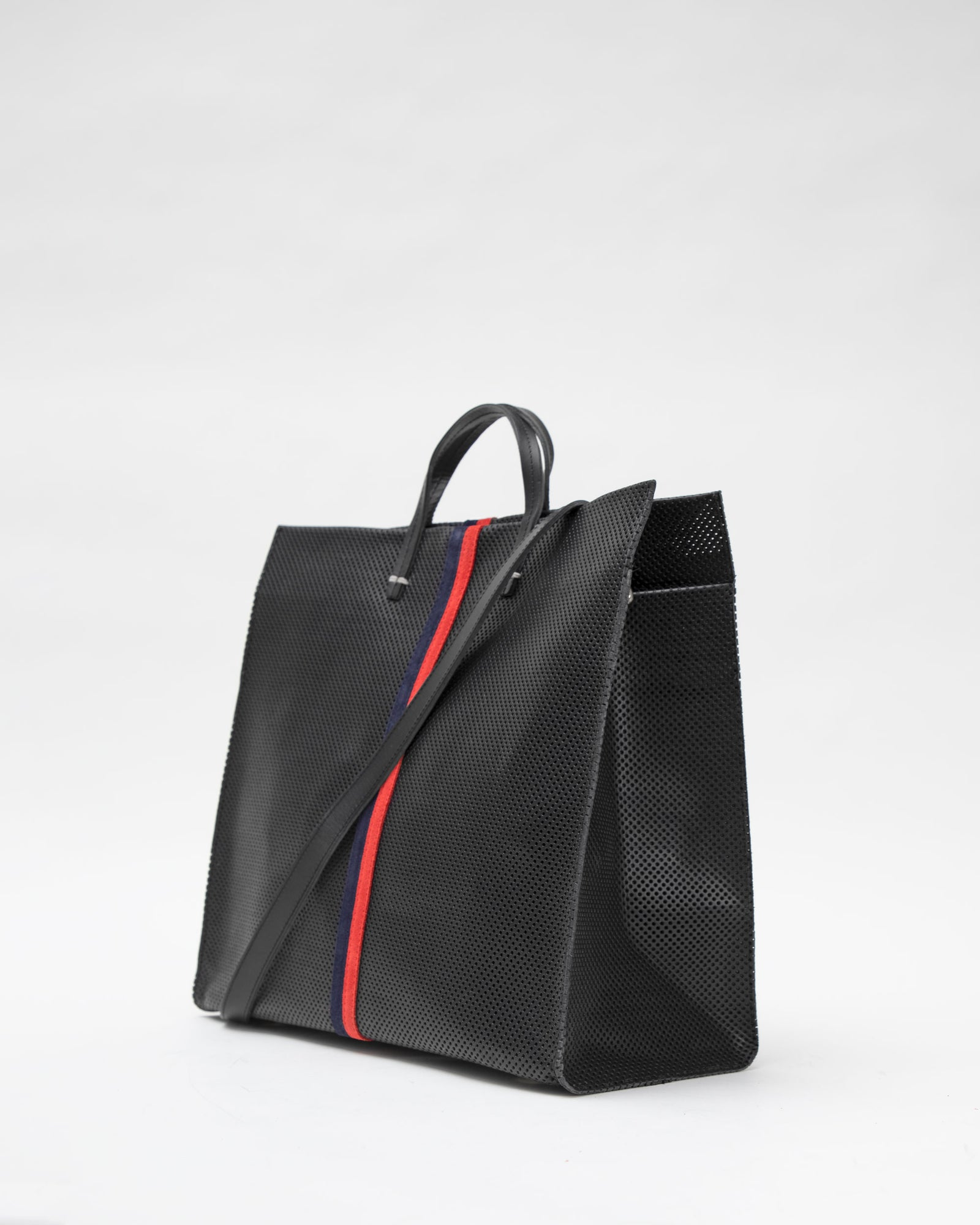 Black Perf with Navy & Red Desert Stripes Simple Tote - Back