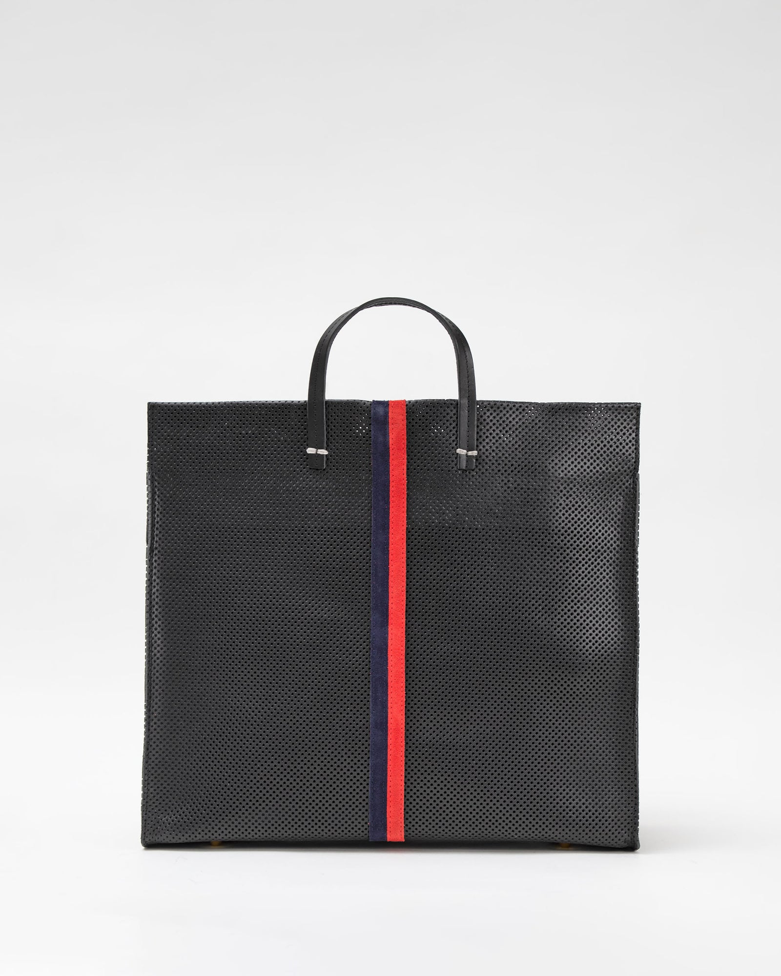 Black Perf with Navy & Red Desert Stripes Simple Tote - Front