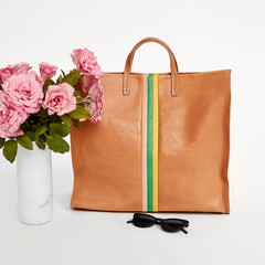 Natural Rustic with Pale Pink, Parrot Green and Canary Desert Stripes Simple Tote