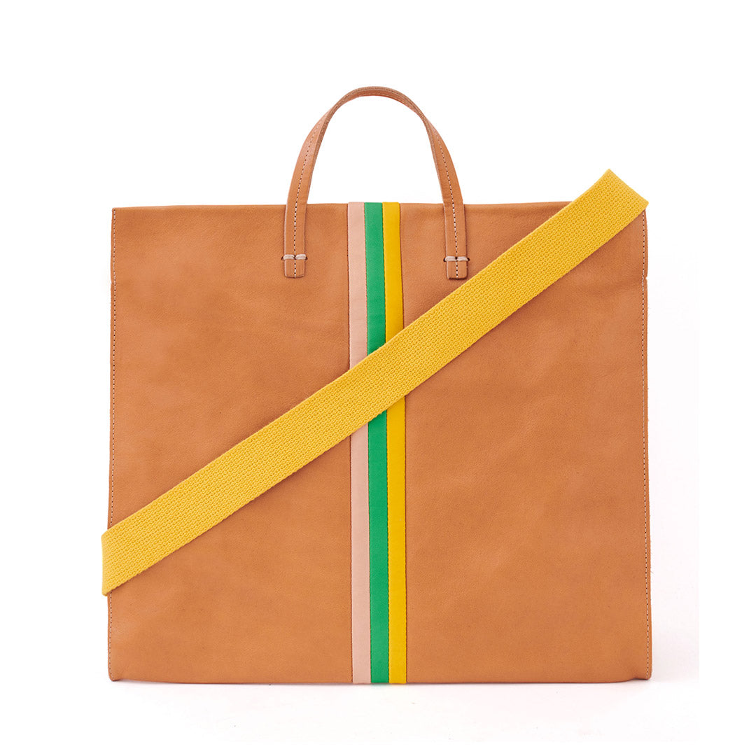Natural Rustic with Pale Pink, Parrot Green and Canary Desert Stripes Simple Tote with Yellow Shoulder Strap