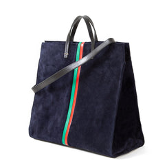 Navy Suede with Evergreen and Cherry Red Desert Stripes Simple Tote - Back